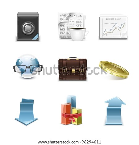 detailed business vector icon set - stock vector
