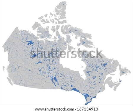 Detailed Canada inshore waters map - stock vector