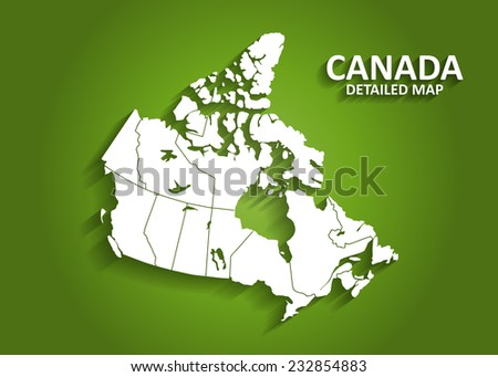 Detailed Canada Map on Green Background with Shadows (EPS10 Vector)