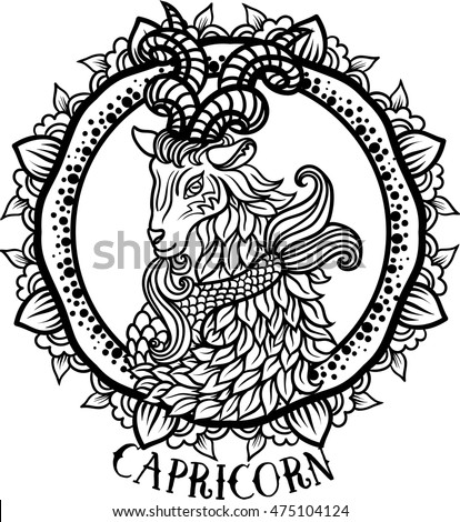 Detailed Capricorn in aztec filigree line art zentangle Paisley style. Tattoo, coloring page for adult. T-shirt design. Zodiac Capricorn tribal, decorative wool pattern. Vector