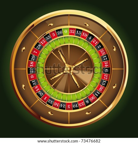 detailed casino roulette wheel - stock vector