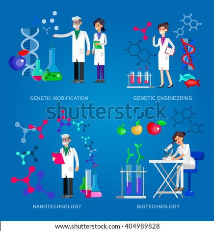 detailed character men woman scientis, laboratory technician looking through a microscope, Biotechnology icons concept, composition of genetic engineering, nanotechnology and genetic modification - stock vector