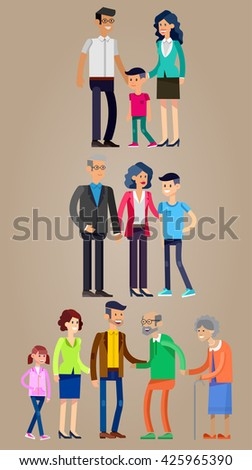 Detailed character people family. Stages of life of  family, young couple, first date, first baby, old parents and adult son. Vector family character. Illustration family people - stock vector