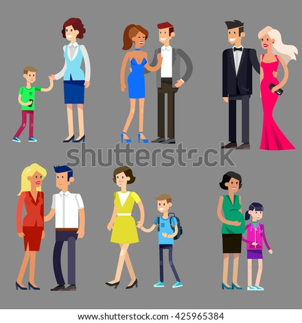 Detailed character people, parents with kids, couple, family with children, gay. Vector family character