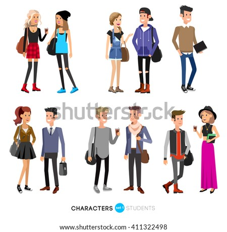 Detailed character students, student Lifestyle, couple of young people in street clothes style. Illustration of character student. Vector flat student go to study - stock vector