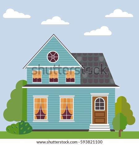 Detailed colorful flat house. Set of  house, yard, and trees.Vector illustration