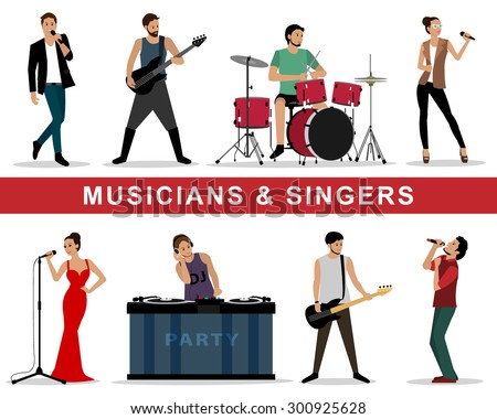 Detailed colorful graphic set of musicians: guitarists, drummers, singers, dj. Isolated vector illustration. Flat style people characters: men and woman. - stock vector