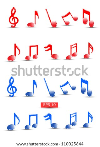 Detailed Colorful musical notes vector.High quality detailed vector but you can easily change the color at any time - stock vector