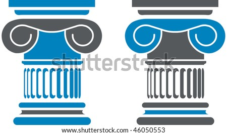 Detailed column of a greek temple - stock vector