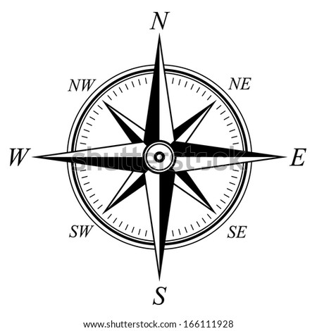Detailed Compass Windrose - stock vector