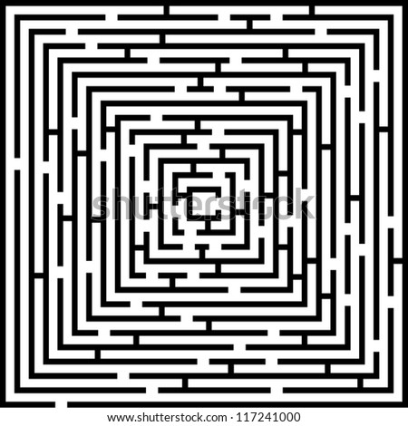 Detailed Complex Maze - stock vector
