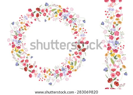 Detailed contour wreath with herbs and bright wild stylized flowers isolated on white. Round frame for your design, greeting cards, wedding announcements, posters. Seamless pattern brush. - stock vector
