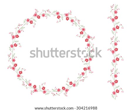 Detailed contour wreath with herbs, tulips and wild flowers isolated on white. Round frame for your design, greeting cards, announcements, posters.  - stock vector