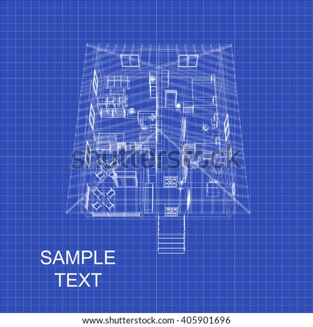Detailed 3 d architectural model on graph stock vector 405901696 detailed 3d architectural model on graph paper blueprint vector background malvernweather Image collections