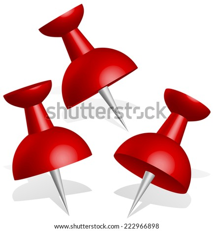 Detailed 3d push pins, thumbtacks in red with drop shadow - stock vector