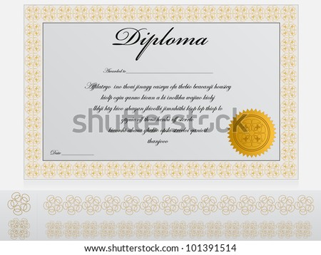 Detailed Diploma Template. Easy to change colors and edit.
