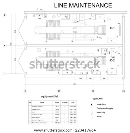 Detailed Drawing Building Car Maintenance Vector Vector – Stock List Format