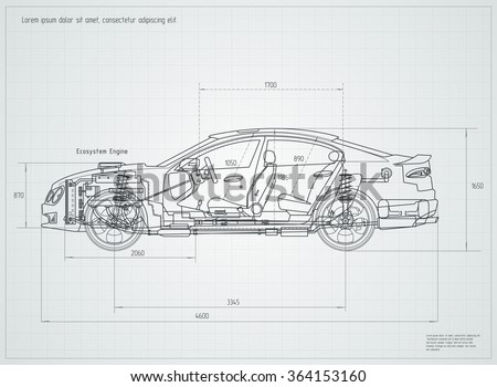 stock vector detailed engineering drawing of the car vector illustration 364153160 car gear stock images, royalty free images & vectors shutterstock vehicle diagram at readyjetset.co