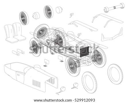 Detailed Engineering Drawing Retro Car Vector Stock Vector HD ...