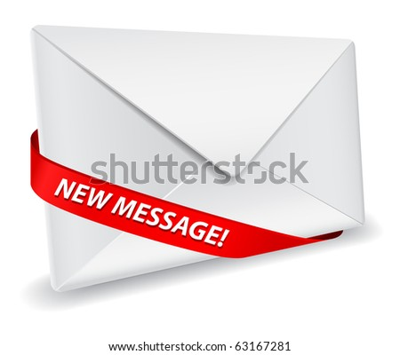 detailed envelope icon with red ribbon