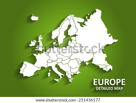 Detailed Europe Map on Green Background with Shadows (EPS10 Vector)