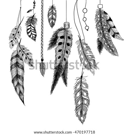 Detailed feathers. Boho illustration.