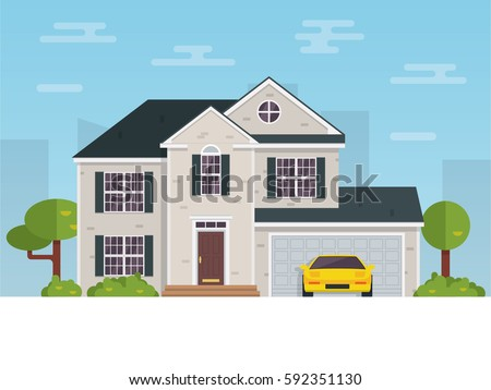 Detailed flat style american house vector stock vector for House shapes and styles