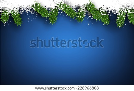 Detailed frame with fir. Blue Christmas background. Vector illustration.  - stock vector