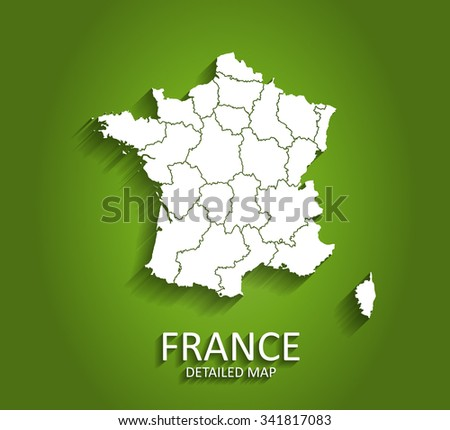 Detailed France Map on Green Background with Shadows (EPS10 Vector)