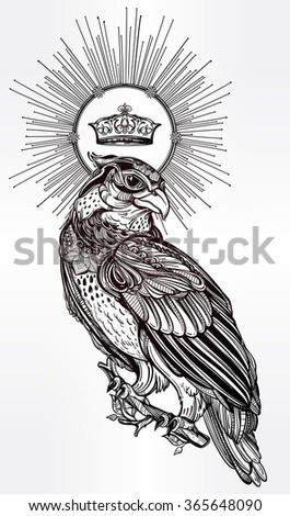 Detailed hand drawn bird of prey with a crown. - stock vector