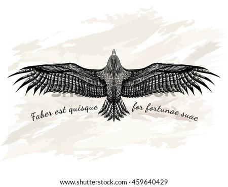 Detailed Hand Drawn Eagle Tattoo Black Vector de stock459640429 ...