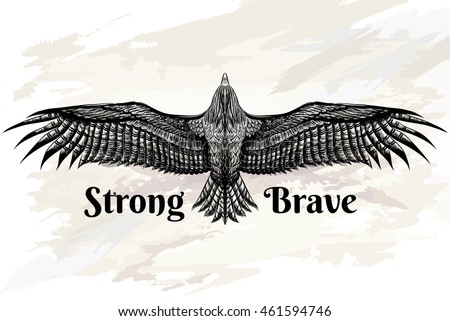 Detailed Hand Drawn Eagle Tattoo Drawing Vector de stock461594746 ...