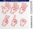 Detailed Hand Shapes. Counting 5, 4, 3, 2, 1, GO. Vector Hand Signs Collection - stock vector
