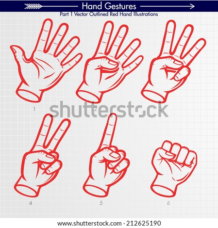 Detailed Hand Shapes. Counting 5, 4, 3, 2, 1, GO. Vector Hand Signs Collection