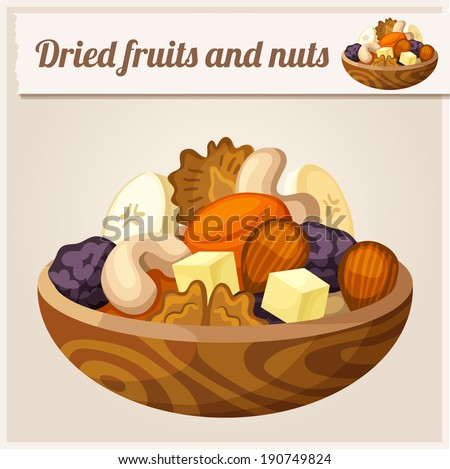 Detailed Icon. Dried fruits and nuts. - stock vector