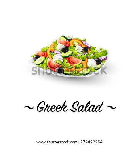 Detailed Icon. Greek salad on white background.