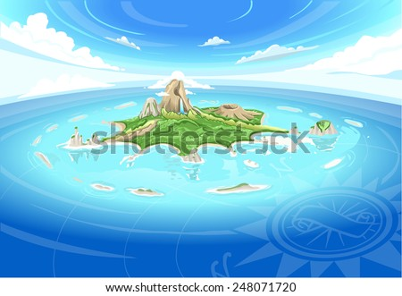 Detailed illustration of a Adventure Island - Treasure Island - stock vector