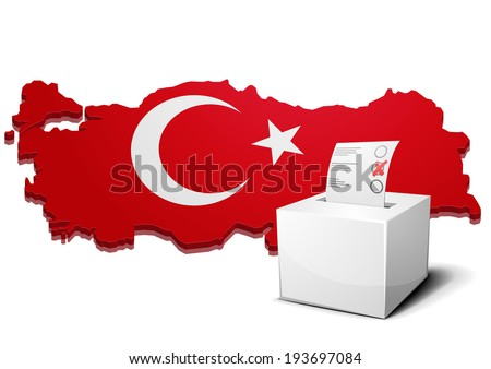 detailed illustration of a ballot box in front of a 3D map of turkey, eps10 vector - stock vector
