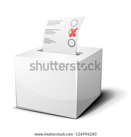 detailed illustration of a ballot box isolated on white, eps 10 - stock vector