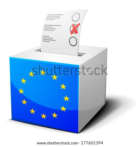 detailed illustration of a ballot box with the european flag on it, eps10 vector - stock vector