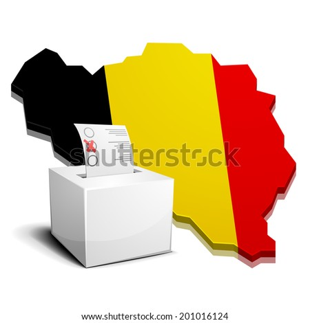 detailed illustration of a ballotbox in front of a 3D map of belgium with flag, eps10 vector - stock vector