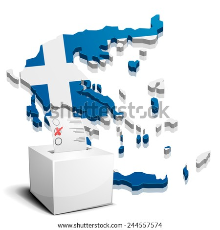 detailed illustration of a ballotbox in front of a map of greece, eps10 vector - stock vector