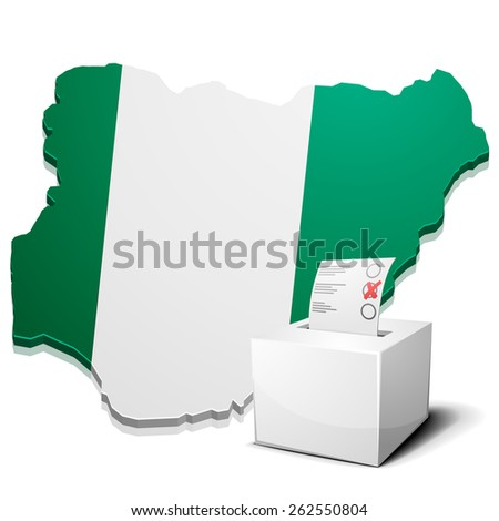 detailed illustration of a ballotbox in front of a map of Nigeria, eps10 vector - stock vector