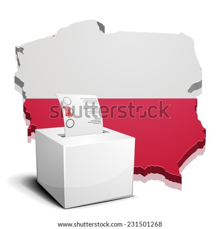 detailed illustration of a ballotbox in front of a map of Poland, eps10 vector - stock vector