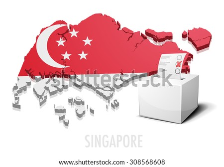 detailed illustration of a ballotbox in front of a map of Singapore, eps10 vector - stock vector