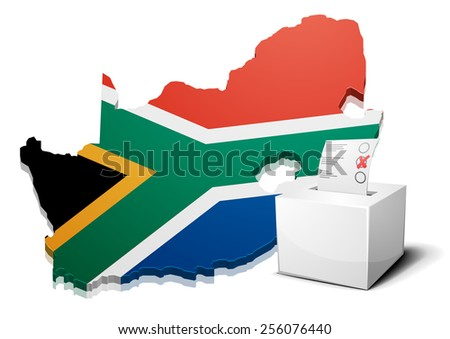 detailed illustration of a ballotbox in front of a map of South Africa, eps10 vector - stock vector