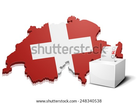 detailed illustration of a ballotbox in front of a map of Switzerland, eps10 vector