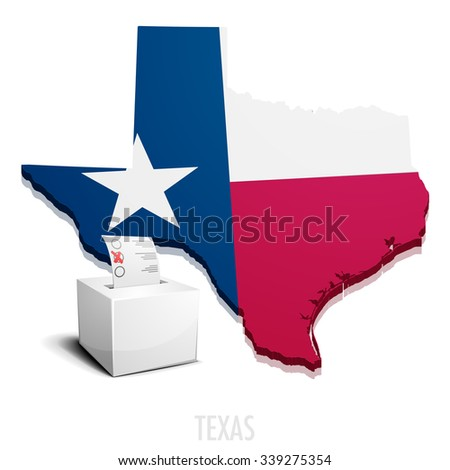 detailed illustration of a ballotbox in front of a map of Texas, eps10 vector - stock vector