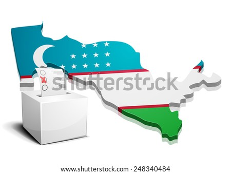 detailed illustration of a ballotbox in front of a map of Uzbekistan, eps10 vector - stock vector