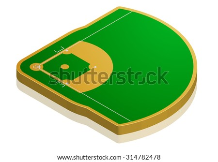 detailed illustration of a baseball field with isometric perspective, eps10 vector - stock vector